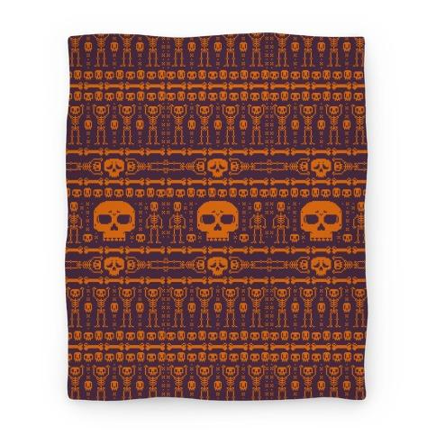 Ugly Skeleton Sweater Pattern Blanket