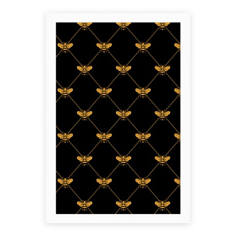 Regal Golden Honeybee Pattern Poster