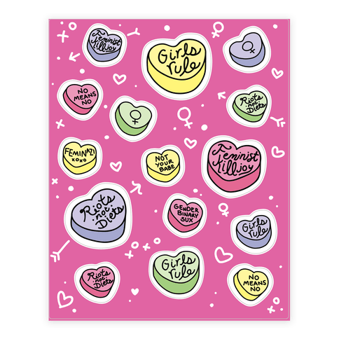 Feminist Conversation Hearts  Sticker/Decal Sheet
