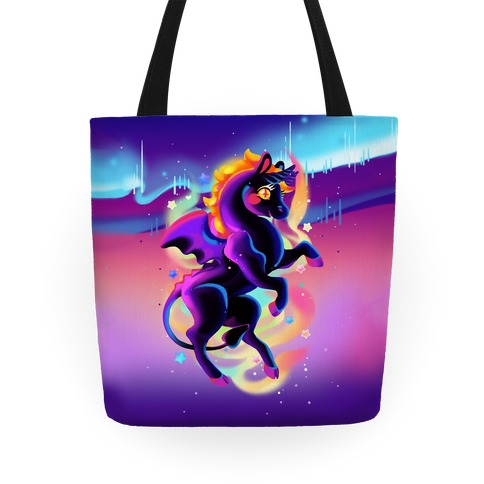 Neon Rainbow Jersey Devil Tote