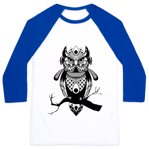 Patterned Owl Baseball Tee