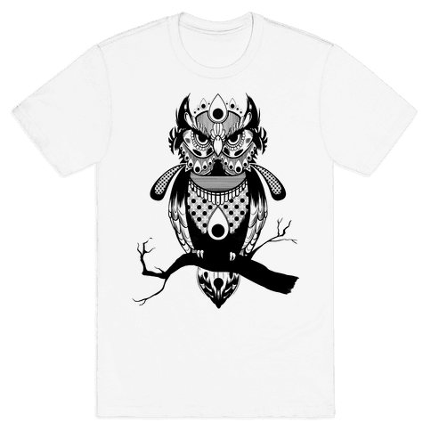 Patterned Owl Mens T-Shirt