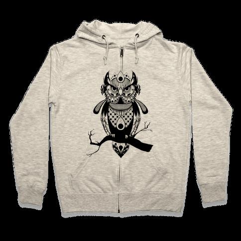 Patterned Owl Zip Hoodie