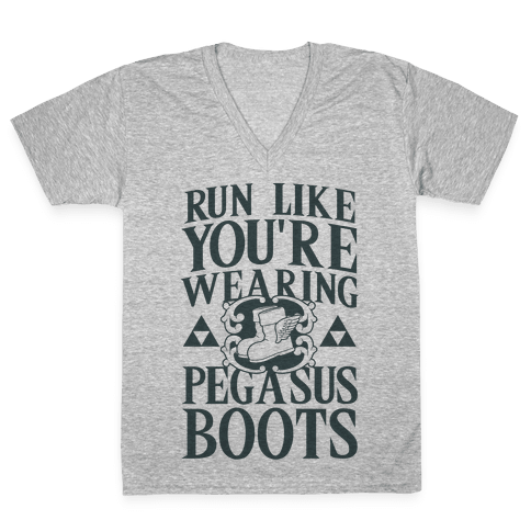 Run Like You're Wearing Pegasus Boots V-Neck Tee Shirt