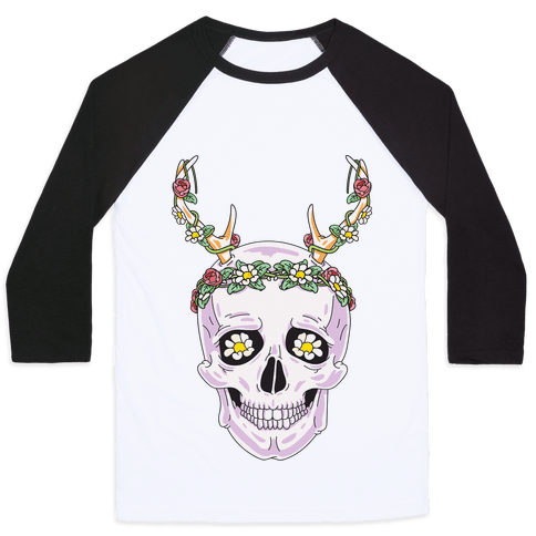 Flower Crown Skull Baseball Tee