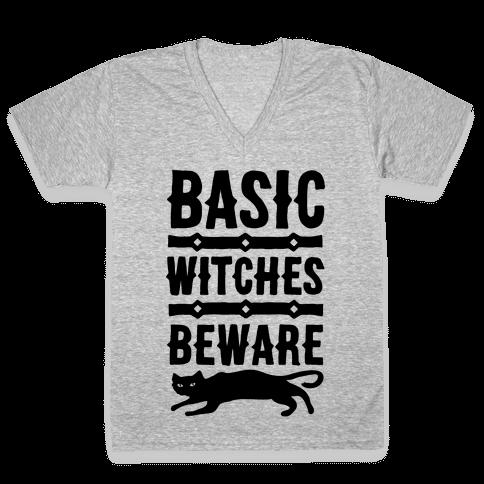 Basic WItches Beware V-Neck Tee Shirt