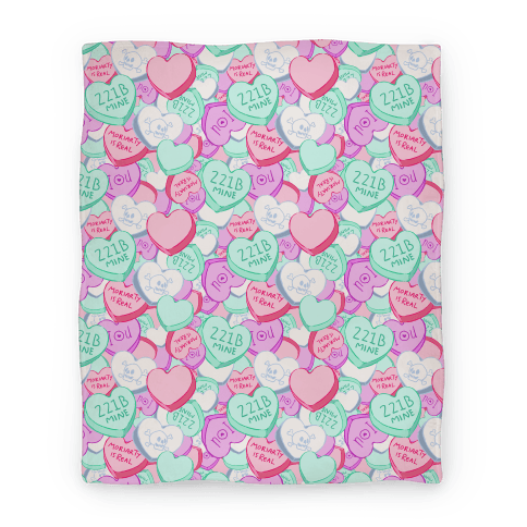 Sherlock Valentines Hearts Blanket Blanket