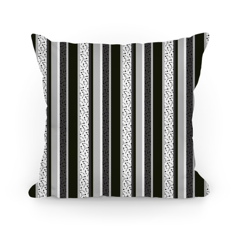 Spring Floral Stripes (Black and White) Pillow