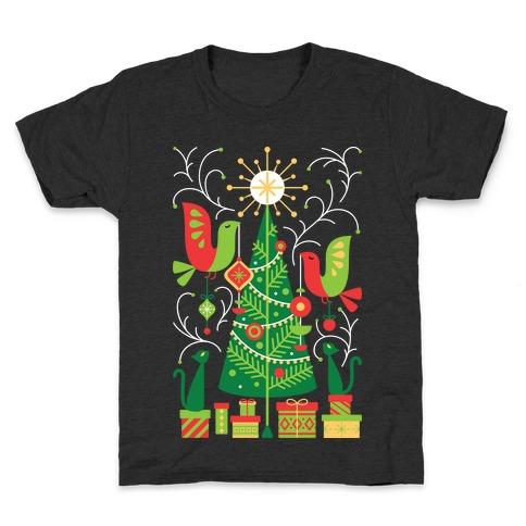 Vintage Christmas Tree Decorating Kids T-Shirt