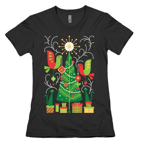 Vintage Christmas Tree Decorating Womens T-Shirt