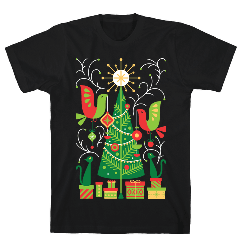 Vintage Christmas Tree Decorating Mens T-Shirt