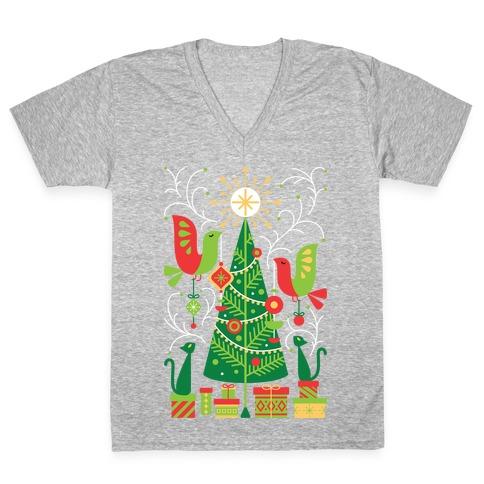 Vintage Christmas Tree Decorating V-Neck Tee Shirt