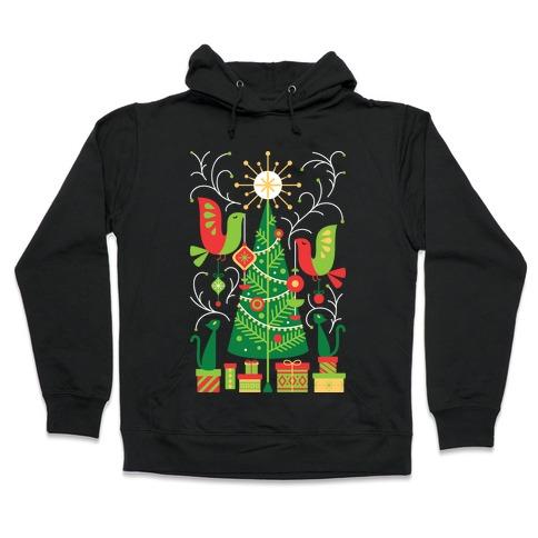 Vintage Christmas Tree Decorating Hooded Sweatshirt