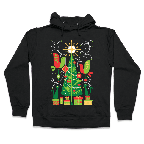 Vintage Christmas Tree Decorating Hooded Sweatshirt