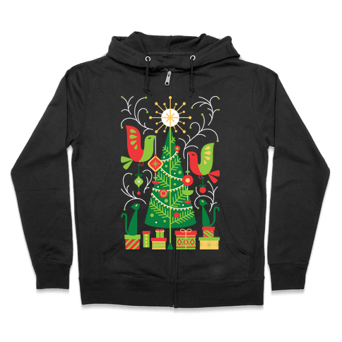 Vintage Christmas Tree Decorating Zip Hoodie