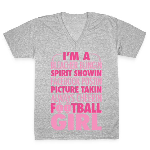 Football Girl V-Neck Tee Shirt