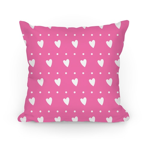 Pink Hearts and Dots Pattern Pillow