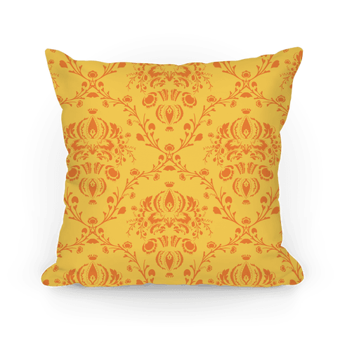 Gold Damask Floral Pattern Pillow