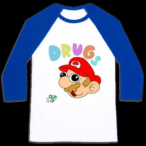 Drugs (Mario) Baseball Tee
