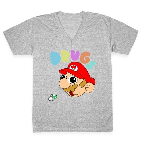 Drugs (Mario) V-Neck Tee Shirt