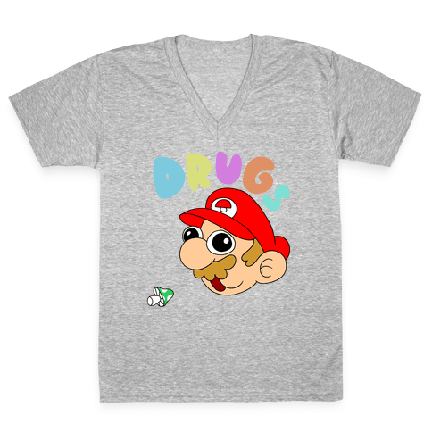 Drugs (Mario) V-Neck Tee Shirt