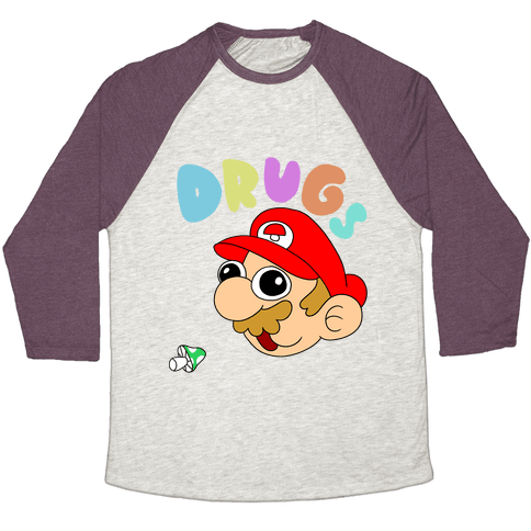 Drugs (Mario) Baseball Tee