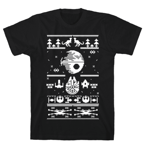 Scifi Spaceship Christmas Mens T-Shirt