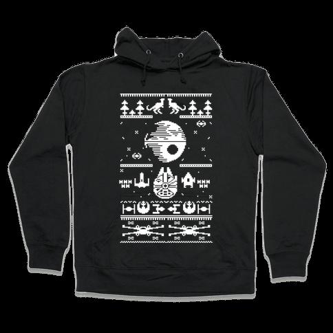 Scifi Spaceship Christmas Hooded Sweatshirt