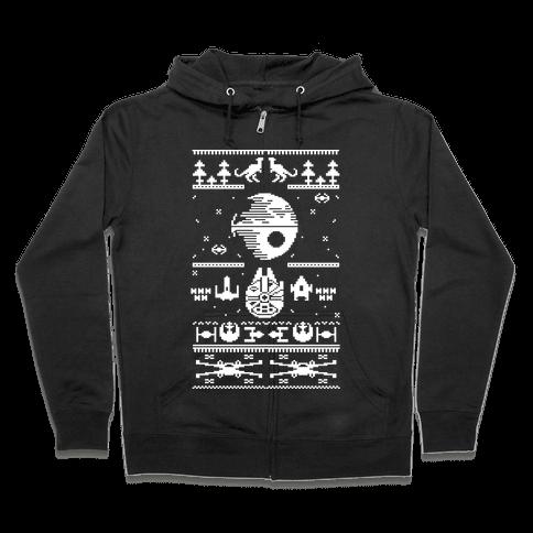 Scifi Spaceship Christmas Zip Hoodie