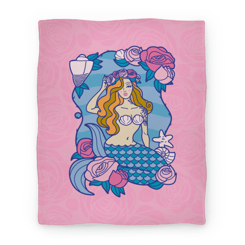 Nautical Tattoo Mermaid Blanket