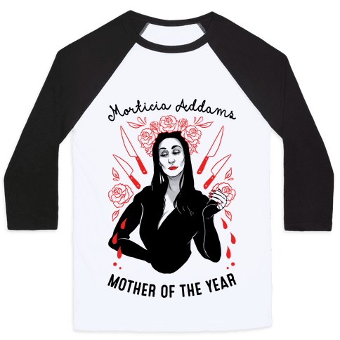 Morticia Addams Mother of the Year Baseball Tee