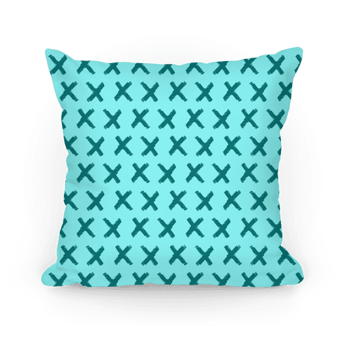 Teal Criss Cross Pattern Pillow