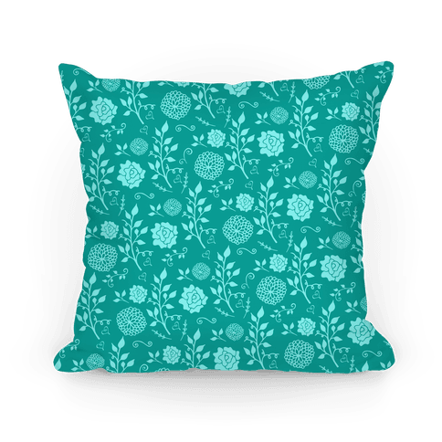 Teal Whimsical Floral Pattern Pillow