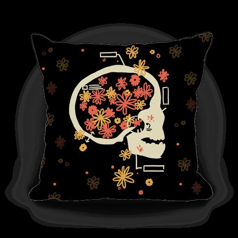 Terminal Daydream Flower Skull Pillow
