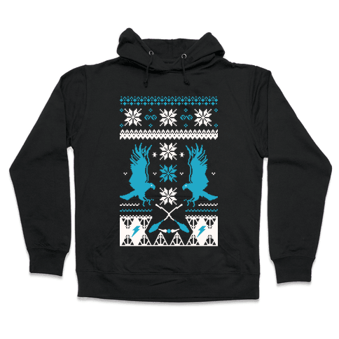 Hogwarts Ugly Christmas Sweater: Ravenclaw Hooded Sweatshirt