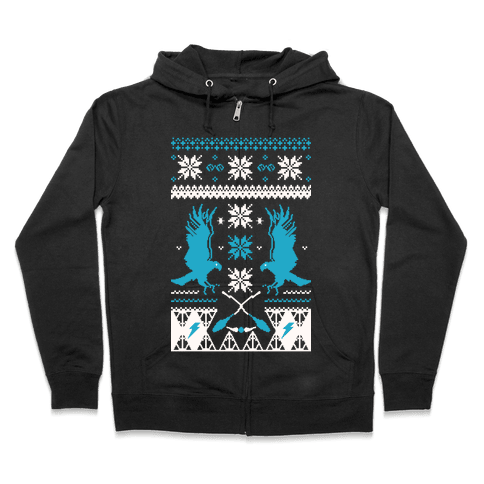 Hogwarts Ugly Christmas Sweater: Ravenclaw Zip Hoodie
