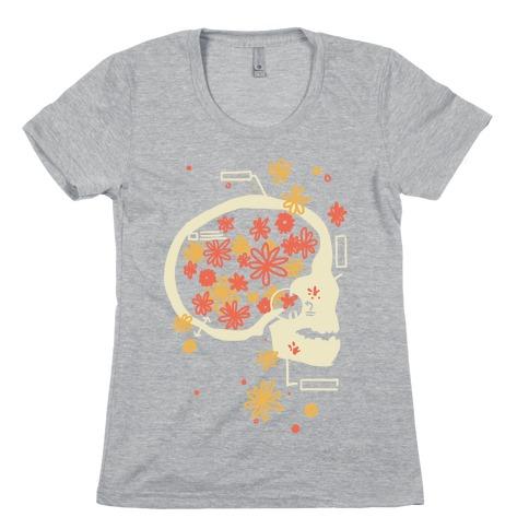 Terminal Daydream Flower Skull Womens T-Shirt