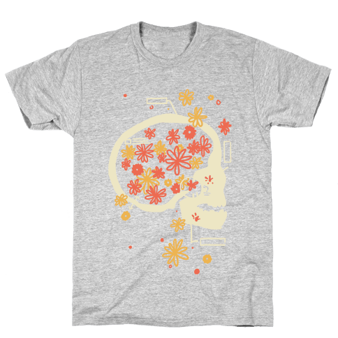 Terminal Daydream Flower Skull Mens T-Shirt