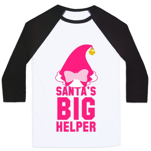 Santa's Big Helper (Pink) Baseball Tee