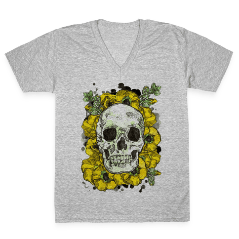 Skull on a Bed of Poppies V-Neck Tee Shirt