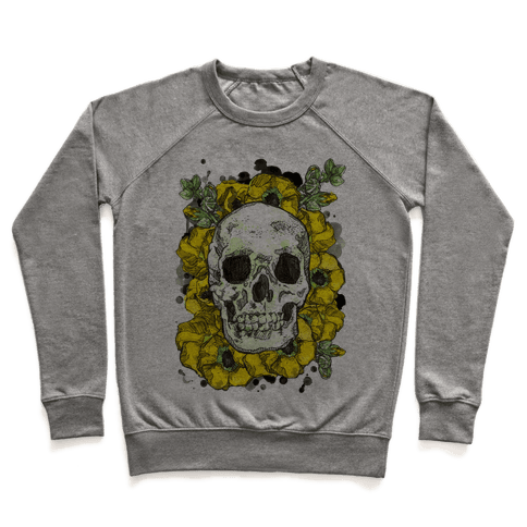 Skull on a Bed of Poppies Pullover