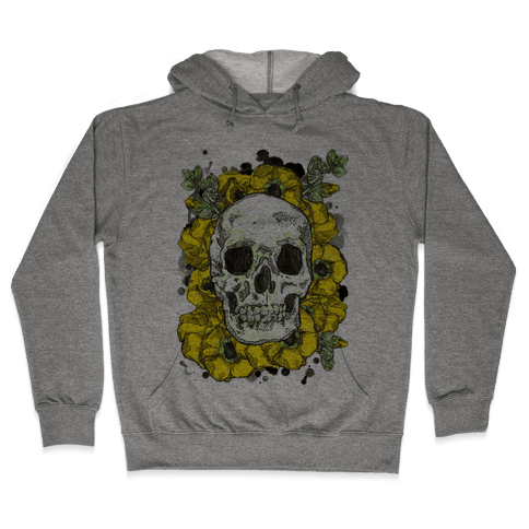 Skull on a Bed of Poppies Hooded Sweatshirt