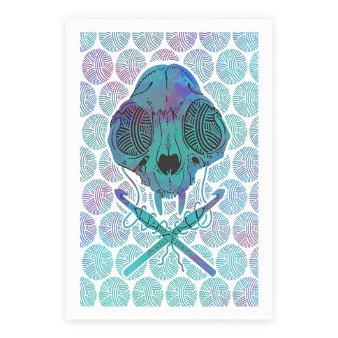 Cat Skull & Crochet Hooks Poster