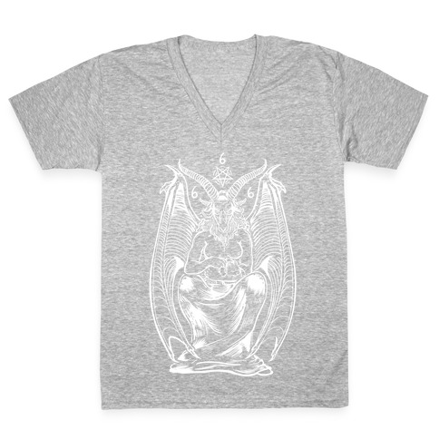 Pet Cats. Hail Satan. V-Neck Tee Shirt