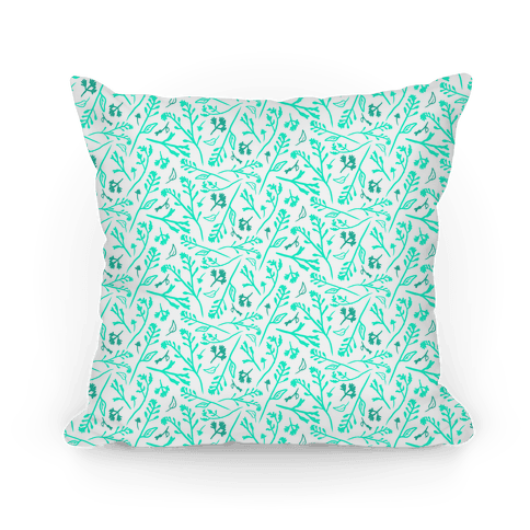 Lovely Wildflower Meadow Aqua Pattern Pillow