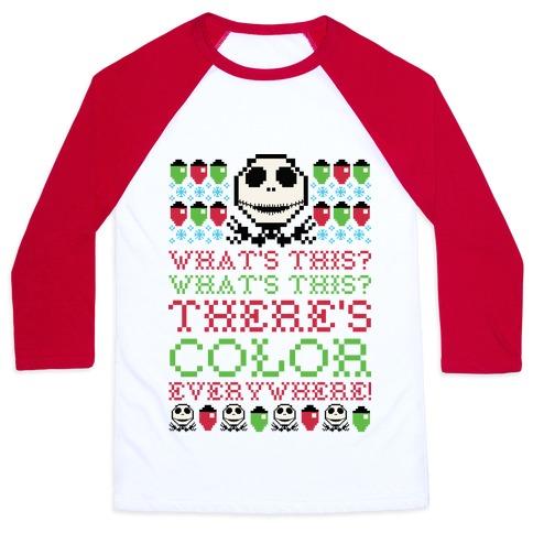 Skellington Ugly Sweater Baseball Tee