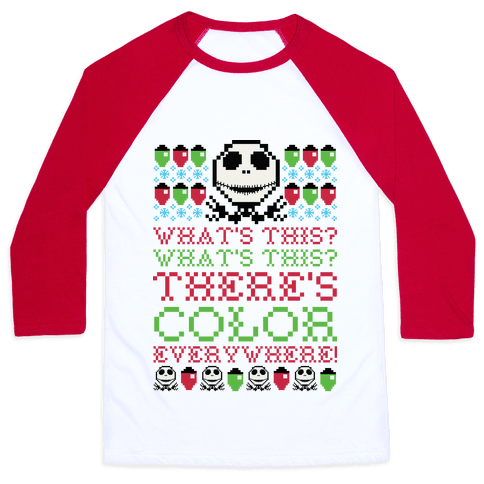 Skellington Ugly Sweater Baseball Tee