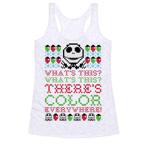 Skellington Ugly Sweater Racerback Tank Top