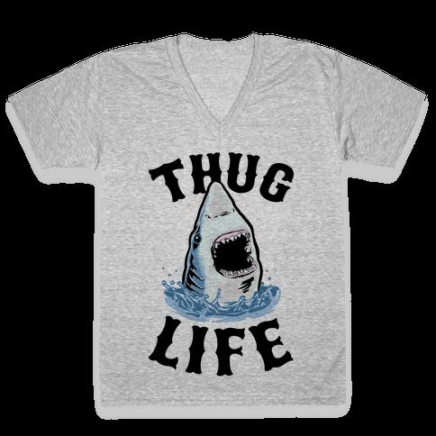 Thug Life Shark V-Neck Tee Shirt