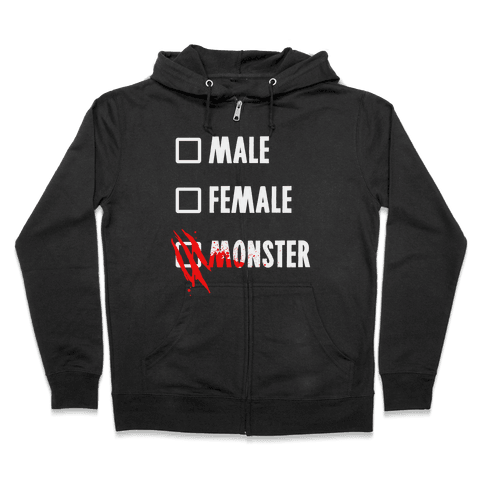 Male Female Monster Zip Hoodie